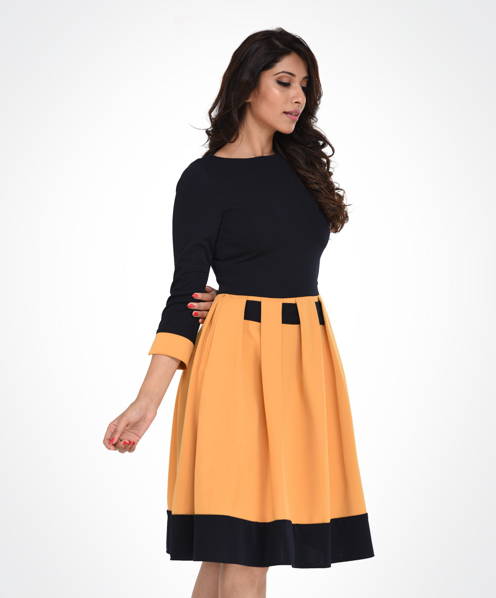 Yellow & Black Pleated Contrast Border Dress