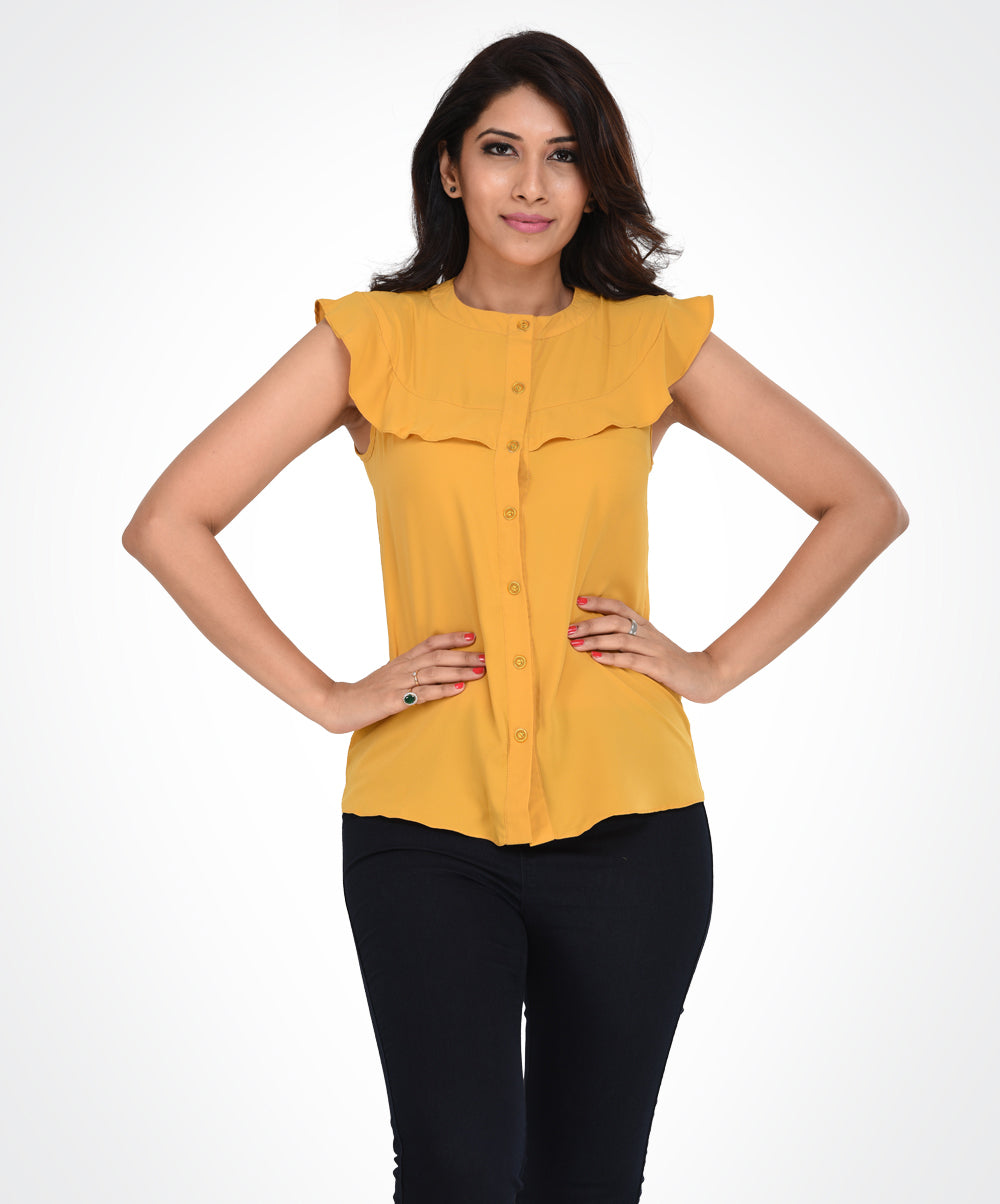 Mustard Buttoned Layer Top