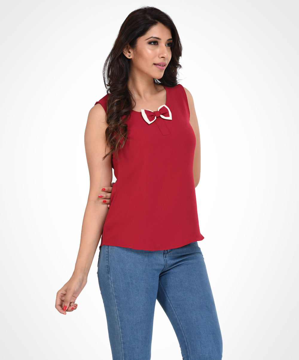 Red Bow Sleeveless Top