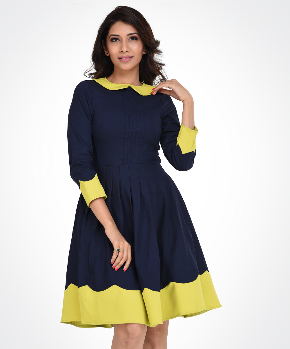 Navy Blue & Yellow Contrast Dress