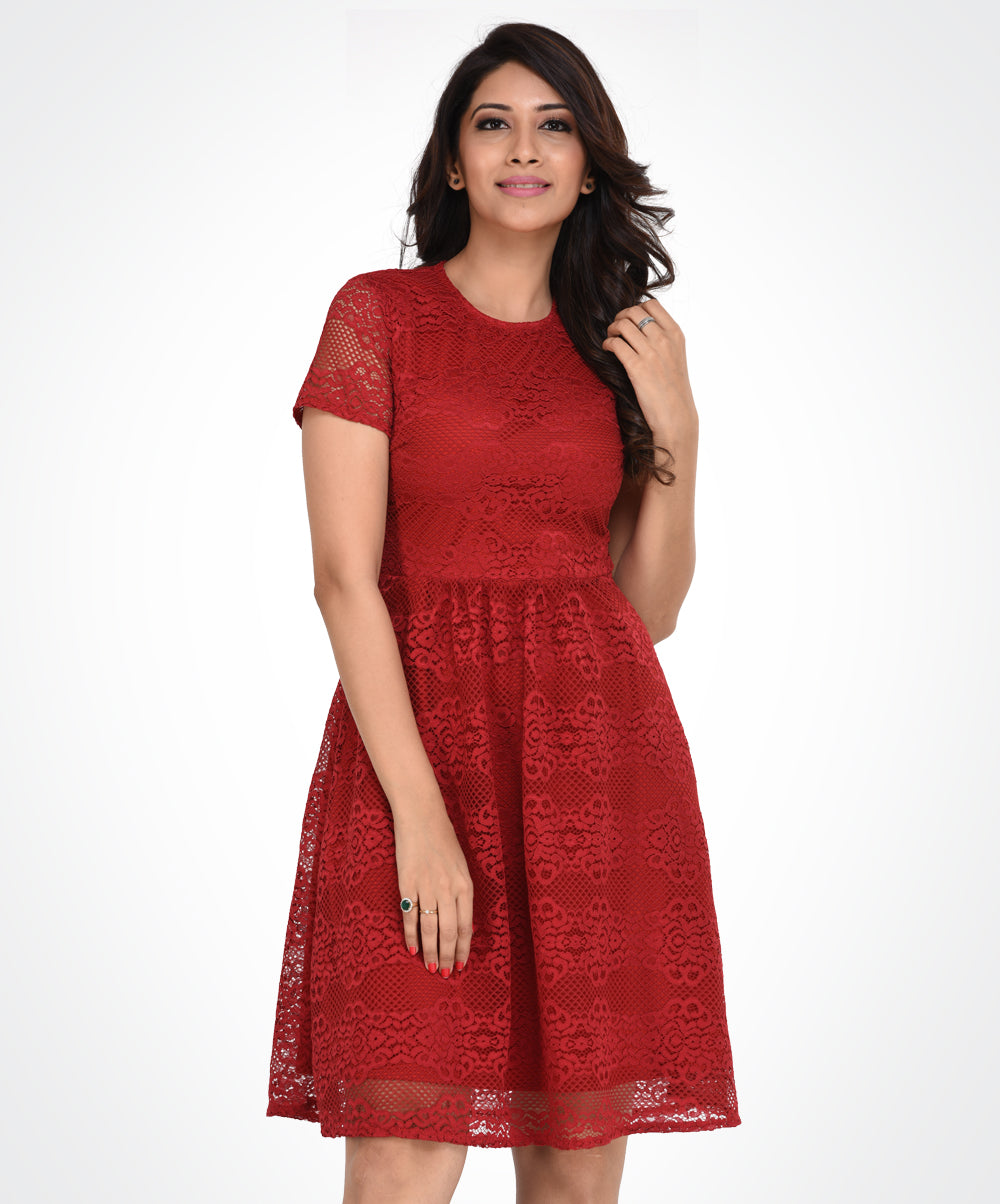 Red Lace Crew Neck Dress