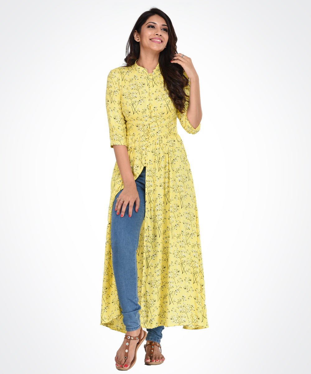 Yellow Floral Printed Tunic Top
