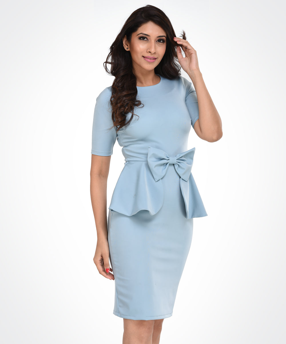 Pastel Blue Bow Waist Dress