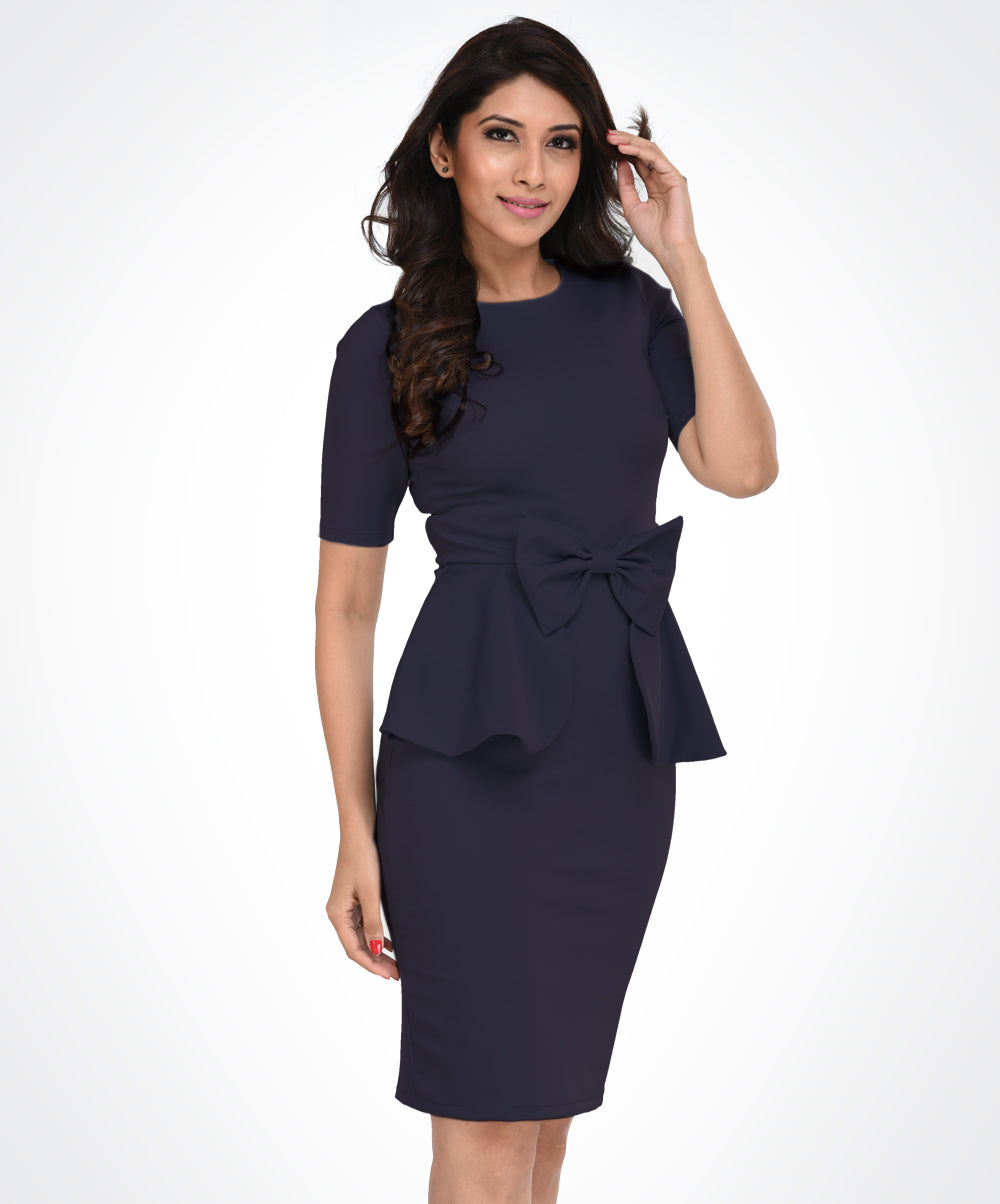 Grey Bow Waist Workwear Dress