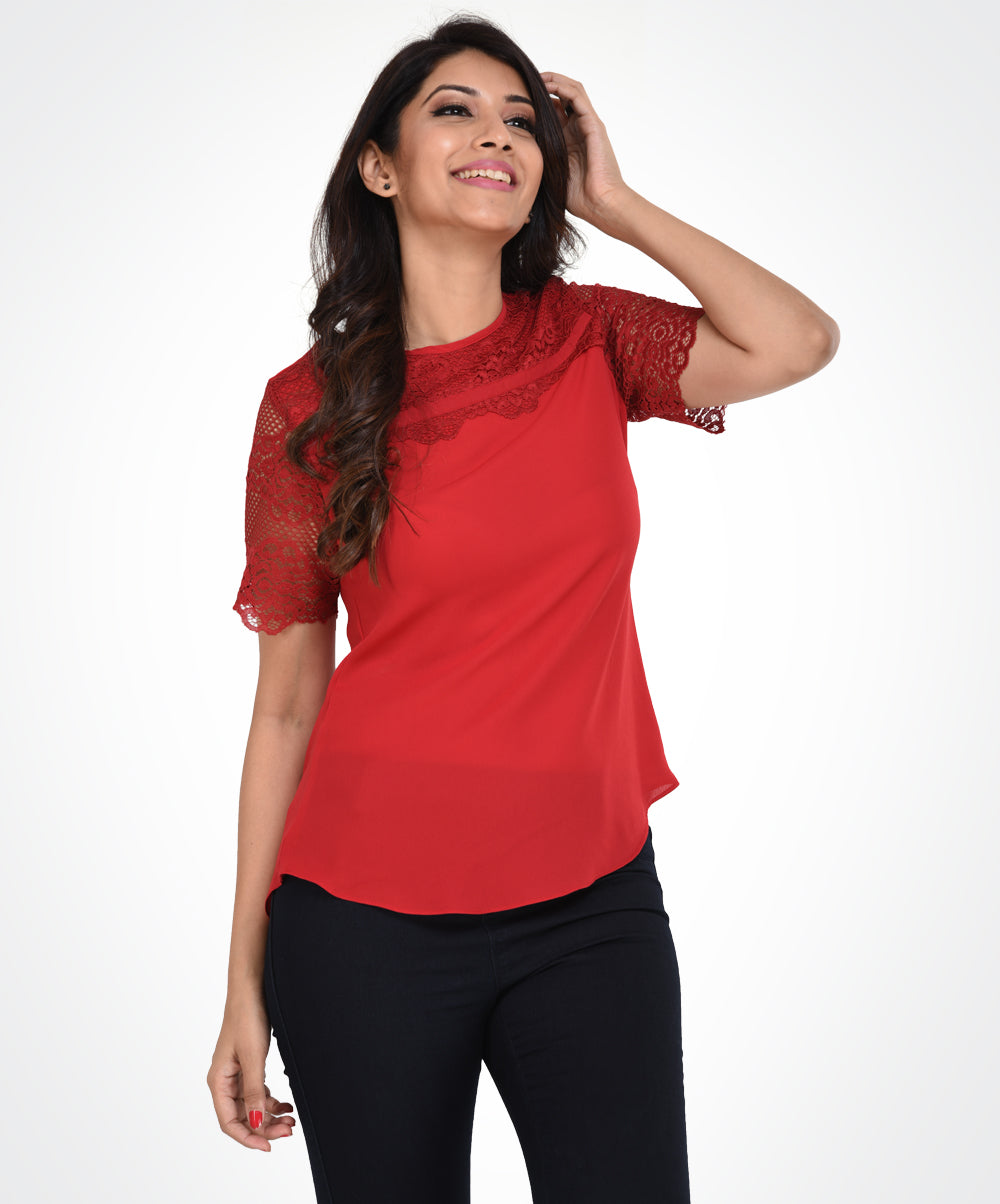 Red Lace Sleeve Chiffon Top