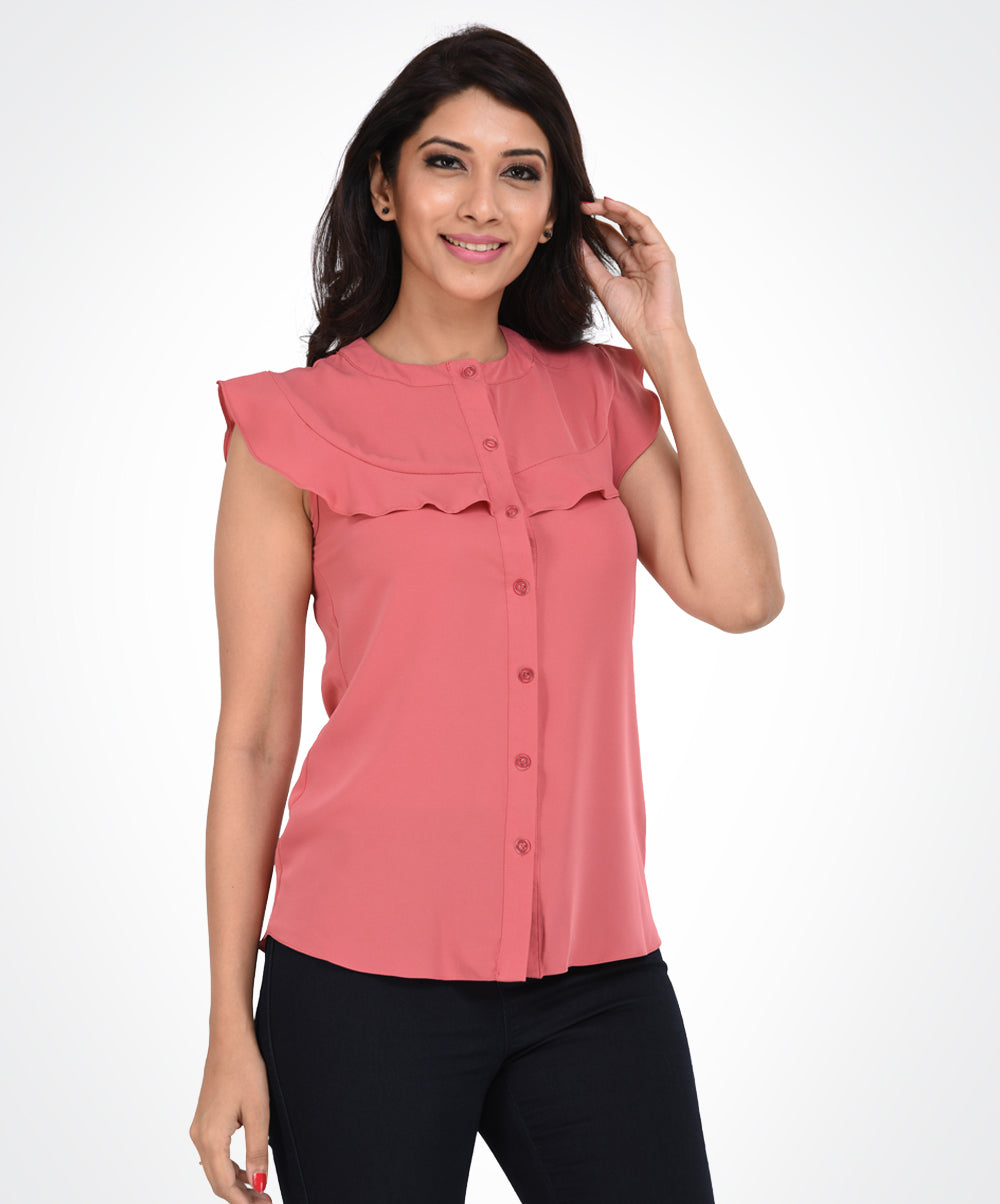 Pastel Pink Buttoned Layer Top