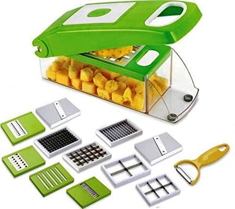 Multi-Purpose Vegetable and Fruit Chopper Cutter Grater Slicer Chipser and Dicer for kitchen with 11 Stainless Steel Blades and 1 Peeler (11 in 1)