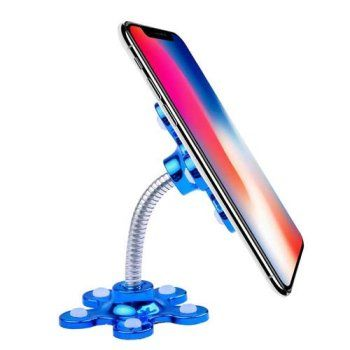 VIP Sucker Stand for Cell Phone Metal Mobile Holder 360°Rotatable Specially for Making Videos - Blue