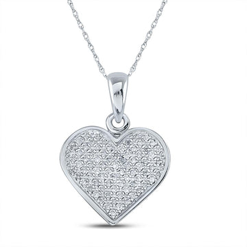 Sterling Silver Womens Round Diamond Heart Pendant 1/4 Cttw