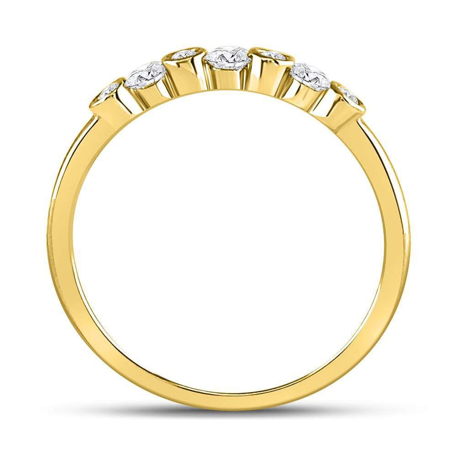 10kt Yellow Gold Womens Round Diamond Bezel Stackable Band Ring 1/4 Cttw