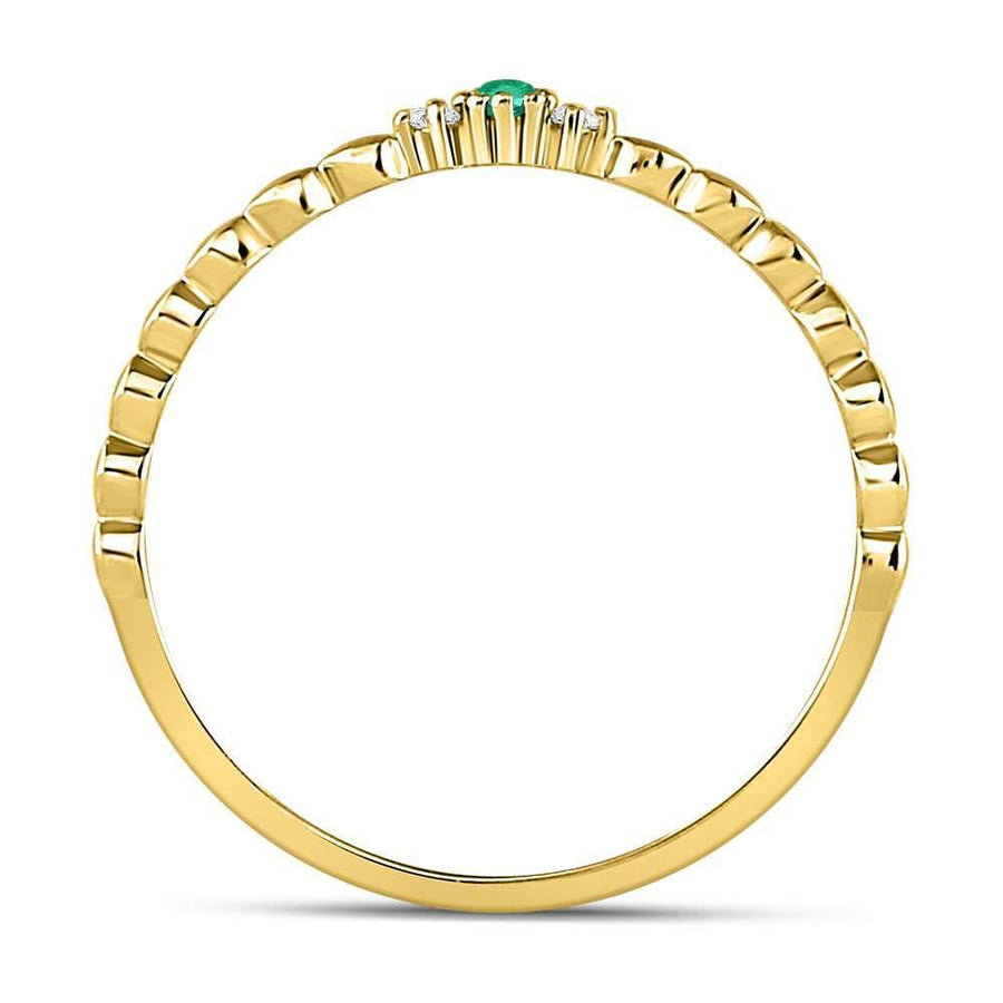 10kt Yellow Gold Womens Round Emerald Solitaire Diamond-accent Stackable Ring .03 Cttw