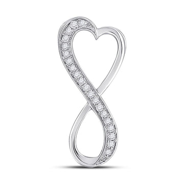 Sterling Silver Womens Round Diamond Vertical Infinity Heart Pendant 1/10 Cttw