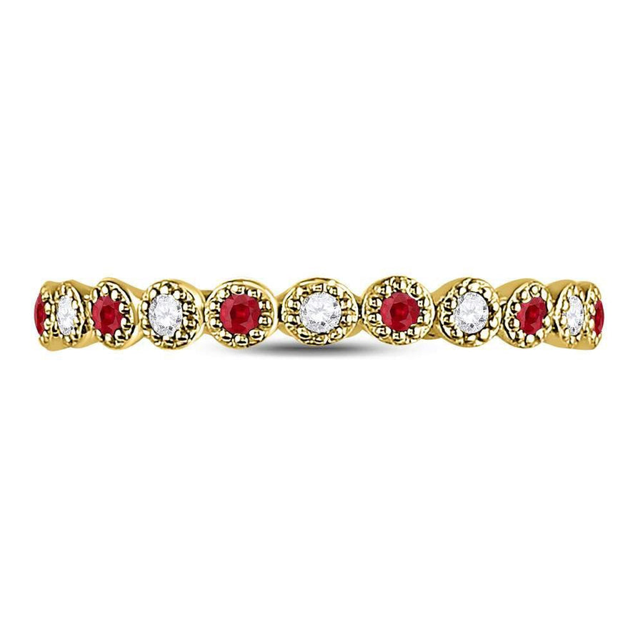 10kt Yellow Gold Womens Round Ruby Diamond Beaded Dot Stackable Band Ring 1/6 Cttw