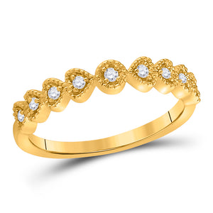 14kt Yellow Gold Womens Round Diamond Heart Stackable Band Ring 1/10 Cttw