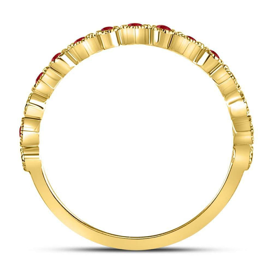 10kt Yellow Gold Womens Round Ruby Square Dot Stackable Band Ring 1/5 Cttw