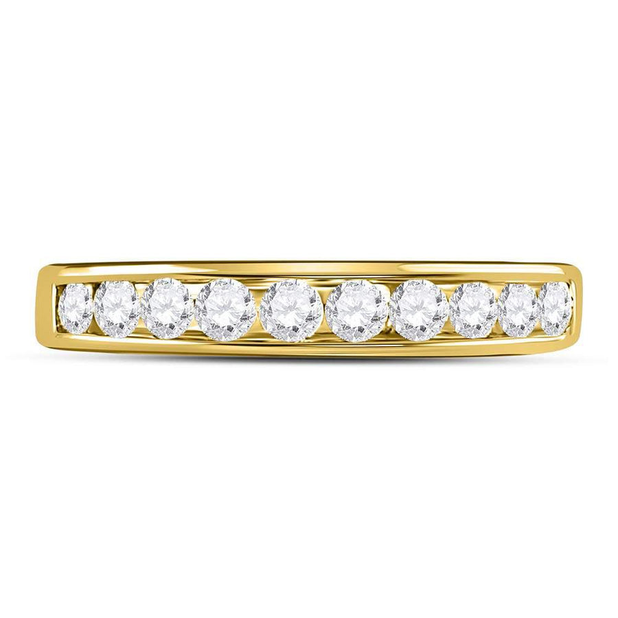 14kt Yellow Gold Womens Round Diamond Wedding Channel Set Band 1/2 Cttw
