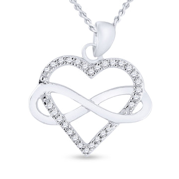 Sterling Silver Womens Round Diamond Heart Pendant 1/6 Cttw