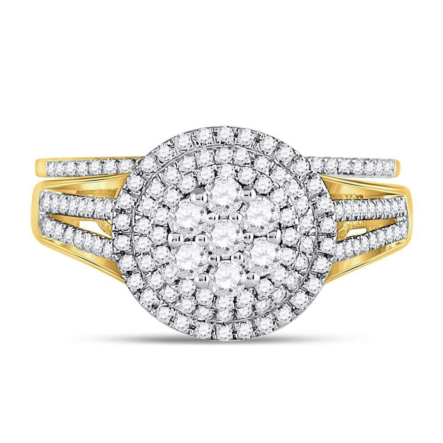 10kt Yellow Gold Round Diamond Cluster Bridal Wedding Ring Band Set 7/8 Cttw