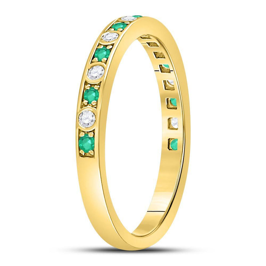 10kt Yellow Gold Womens Round Emerald Diamond Alternating Stackable Band Ring 1/4 Cttw