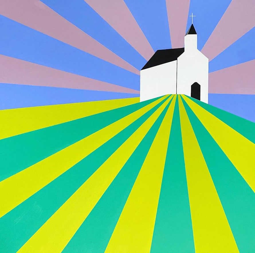 CHURCH ON A HILL 36X36
