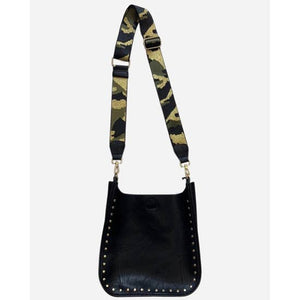 VEGAN MESSENGER W/STUDS AND CAMO STRAP