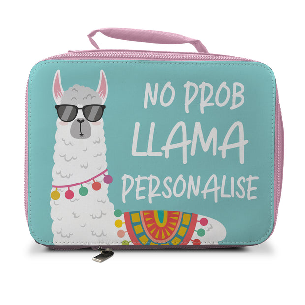 Personalised No Prob Llama Insulated Lunch Bag - Pink