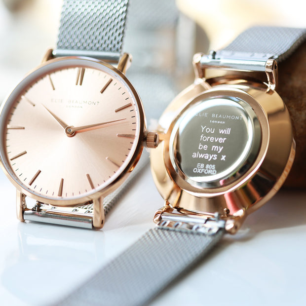 Personalised Watch Elie Beaumont Rose Silver - Wear We Met