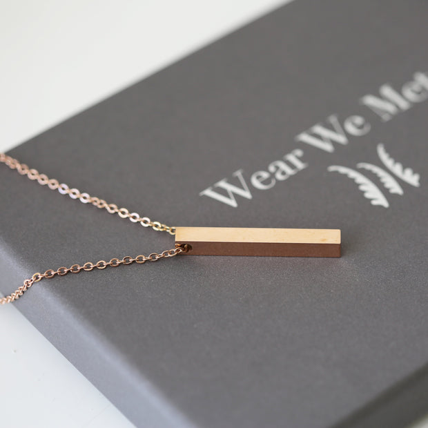Personalised Bar Necklace - Wear We Met