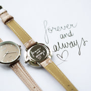 Handwriting Engraved Anaii Watch In Sandstone - Wear We Met