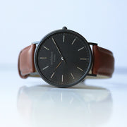 Handwriting Engraving - Men's Minimalist Watch + Walnut Strap - Wear We Met
