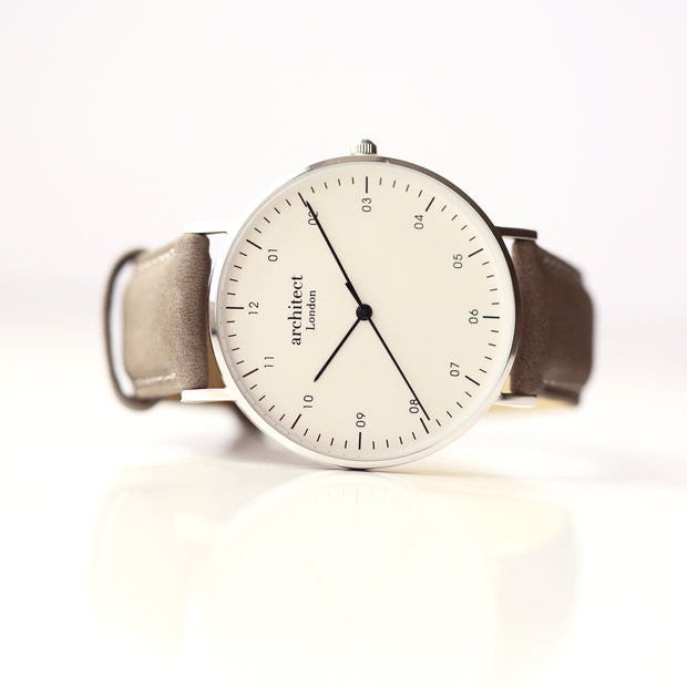 Modern Font Engraving - Men's Architect Zephyr + Urban Grey Strap - Wear We Met