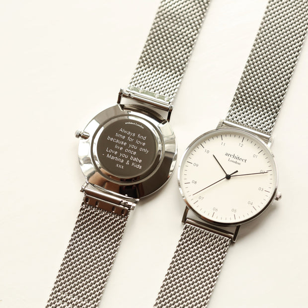 Modern Font Engraving - Men's Architect Zephyr + Steel Silver Mesh Strap - Wear We Met