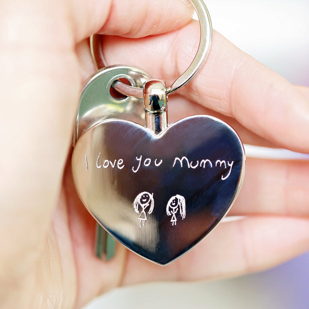 Hearts Forever Keychain With Handwriting Engraving - Wear We Met