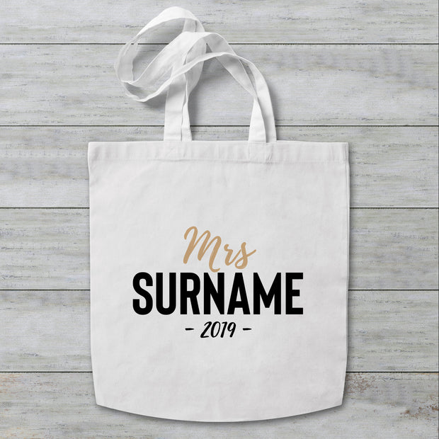 Mrs Surname Personalised Tote Bag