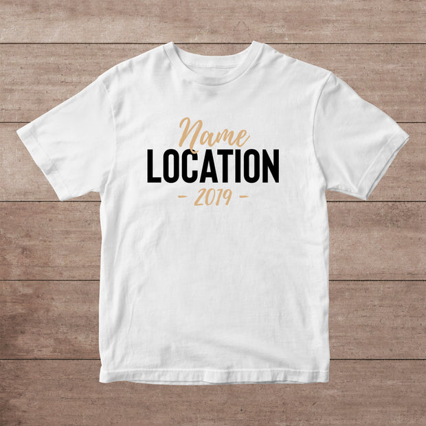 Name Location Personalised Adult T-Shirt