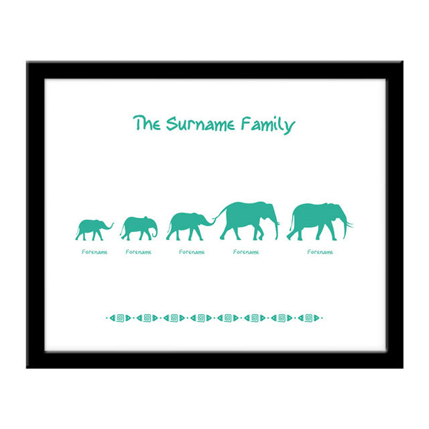 Elephant Family of 5 Print