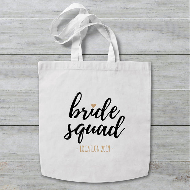 Bride Squad Heart Personalised Tote Bag