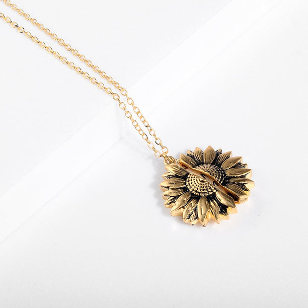 Vintage Sunflower Locket  Necklace