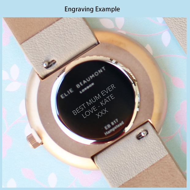 Small Elie Beaumont Personalised Oxford Blue Ladies Watch - Wear We Met