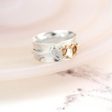 Twin Hearts Spinning Ring - Stirling Silver - Wear We Met