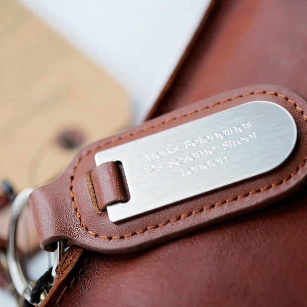 Vintage Leather Tablet Bag With Personalised Name Tag - Wear We Met