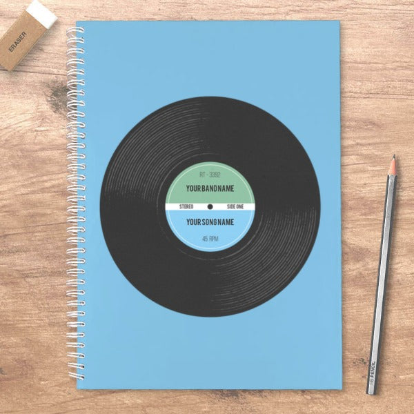 Vinyl Record Retro Personalised A5 Notebook
