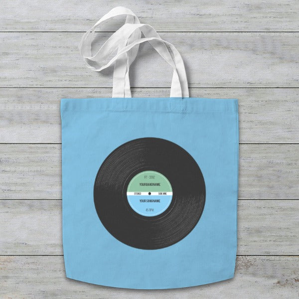 Vinyl Record Retro Personalised Tote Bag
