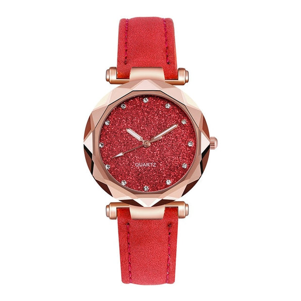 Korean Rhinestone Rose Gold Quartz Watch - VertaStyle