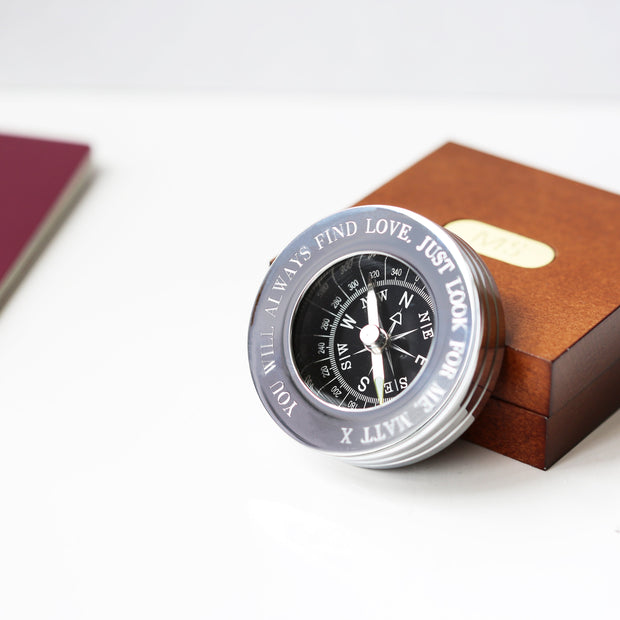 Compass Personalised With Timber Box - Wear We Met