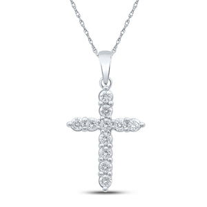 10kt White Gold Womens Round Diamond Cross Pendant 1/2 Cttw