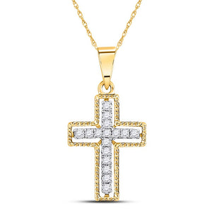 10kt Yellow Gold Womens Round Diamond Cross Pendant 1/10 Cttw