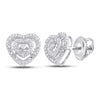10kt White Gold Womens Round Diamond Heart Earrings 1/12 Cttw