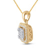 14kt Yellow Gold Womens Round Diamond Cushion Cluster Pendant 1/4 Cttw