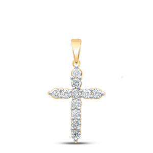 14kt Yellow Gold Womens Round Diamond Cross Pendant 1 Cttw